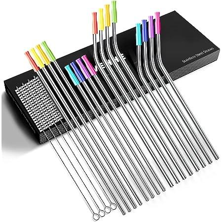 VEHHE Paquet de 16 pailles réutilisables en acier inoxydable en métal avec étui de voyage en silicone - Pailles longues pour gobelets de 30 oz et 20 oz - 4 brosses de nettoyage, boîte-cadeau incluse