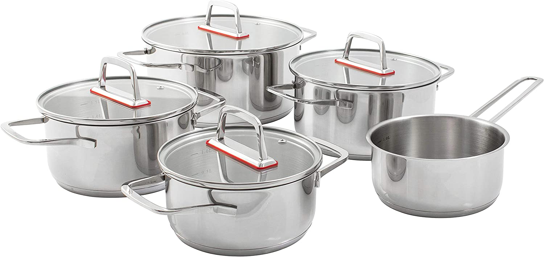 Kopf Jara – Juego de ollas de cocina 9 piezas de acero inoxidable / Juego de ollas de inducción con tapa y escala de litros integrada / 4 ollas con tapa de cristal y 1 cazo