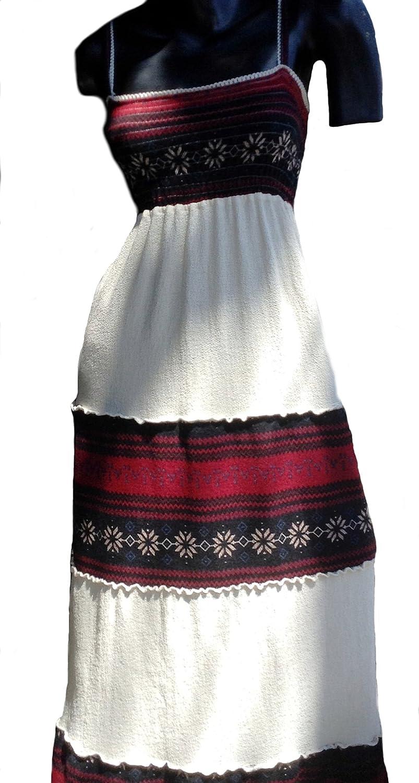 Alpakaandmore Women Ecological Pyma Cotton Dress with Peruvian Manta Fabric