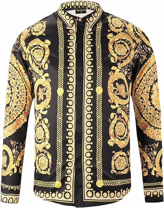 Camicia stampata stile barocco elegante uomo a maniche lunghe pizoff B07FQZLQYN