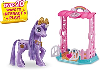 Pets Alive My Magical Unicorn in Stable Battery-Powered Interactive Robotic Toy Playset (Purple Unicorn) by ZURU