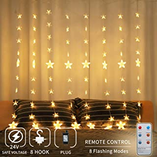 Areskey Window Star String Lights,144 LED 80 Starry Curtain Lights,Waterproof Star Decorations for Wedding Party Home Garden Bedroom Outdoor Indoor Wall,8 Modes RF Remote,Timing Night Light,Warm White