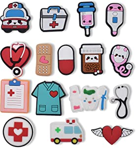 Ibuclein 16pieces Shoe Charms Decoration Medical Combination Cute Stethoscope Syringe Pill Shoe Accesooties for Sandals & Bracelet Wristband Party Favor…