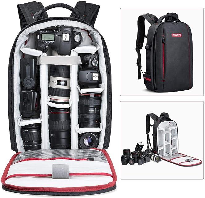 Beschoi - Mochila para Cámara Réflex y Accesorios Mochila Fotografía para Canon Nikon Sony Pentax Cámara DSLR y Tabletas Portátiles L