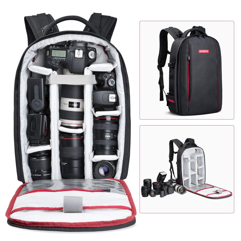 Amazon Com Beschoi Dslr Camera Backpack Waterproof Camera Bag For Slr Dslr Camera Lens And Accessories Black Large Camera Photo