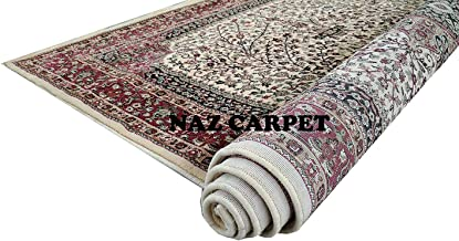 Naz Carpet Kashmiri Traditional Woollen Carpet with Advanced 1 Inch Thickness & Classical Look 150x200cm (5x7 Feet) Color Ivory