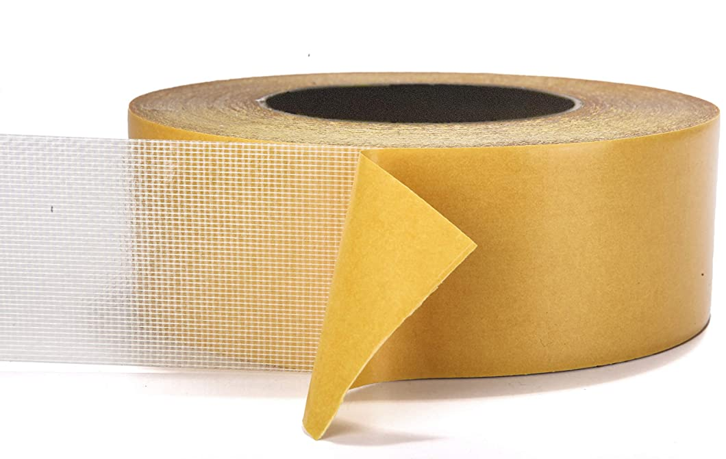 Double-Sided Carpet Tape - 90 Feet, 2 Inches Wide - Adhesive Keeps Rugs in Place on Carpet, Hardwood, Tile, Linoleum - Easily Removable with No Residue (90 Feet, 30 Yards, 27.4 Meters)