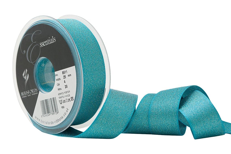 Berisfords R861125/4 | Peacock Glitter Satin Ribbon | 20m x 25mm