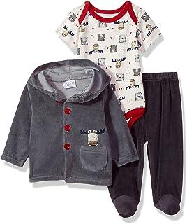 Rene Rofe Baby Unisex-Child Newborn 3 Piece Velour Jacket Bodysuit Set Pants Set - Multi