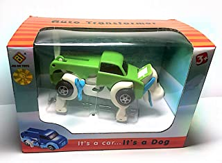 YEEMAX 2 in 1 Wind Up Toys - Auto Shape Shifting Dog Car Toy - Non-Batteries and Portable - Ideal Gift for Preschooler (Green)