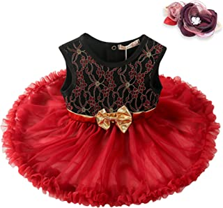 Booulfi Toddler Baby Girls Dress Formal Gowns Birthday Pageant Princess Lace Wedding Dress with Flower Headband Set 3-6 Mo...