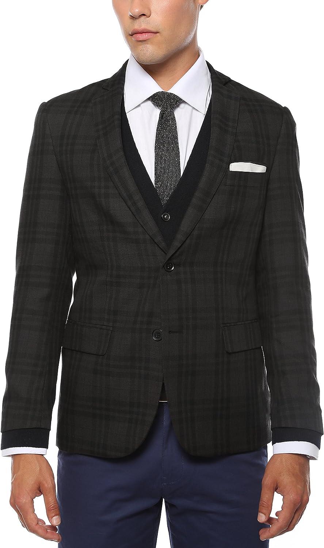 44L Zonettie Mens ARES Charcoal & Black Plaid Slim Fit Blazer