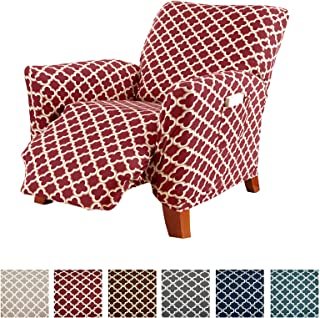 Printed Stretch Recliner Slipcover. 1-Piece Strapless...