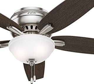 Hunter Fan 52 inch Hugger Ceiling Fan in Brushed Nickel with a Cased White Glass Light Kit, 5 Blade (Renewed)