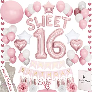 Stunning Sweet 16th Birthday Decorations Party Supplies + (SASH) + (SWEET Letter Balloons) + (Sixteen Cake Topper)   Rose Gold Pink Fuchsia 16 BDay   (71+ Items)