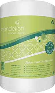 Dandelion Diapers Biodegradable and Flushable Natural Diaper Liners, 200 Sheets - 100% Viscose Made From Bamboo