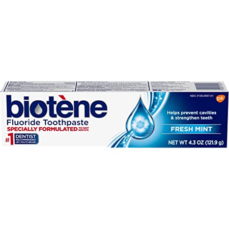Biotene Fluoride Toothpaste for Dry Mouth Symptoms, Bad Breath Treatment and Cavity Prevention, Mint, Fresh Mint, 4.3 Ounc9e