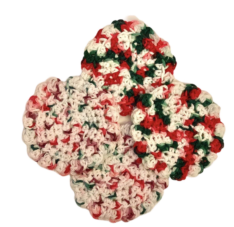 Handmade Same day shipping Crochet Sales Cotton Coasters - Splash F Christmas colors