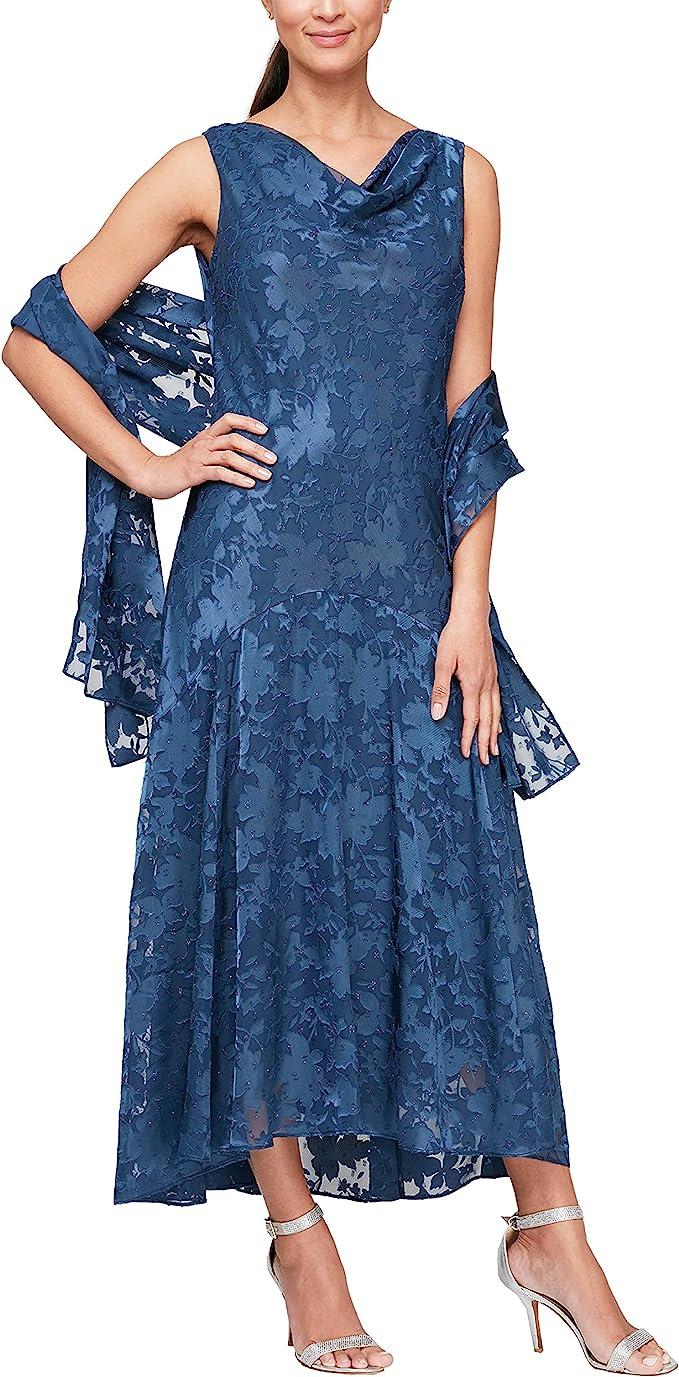 1920s Style Dresses, 20s Dresses Alex Evenings Womens Tea Length Printed Chiffon Dress with Shawl  AT vintagedancer.com