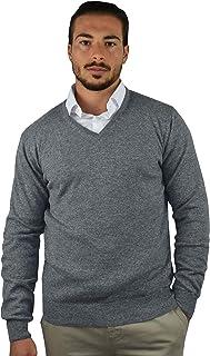 1stAmerican Made in Italy Maglia 100% Cashmere Collo a V da Uomo Manica Lunga - Regular Fit