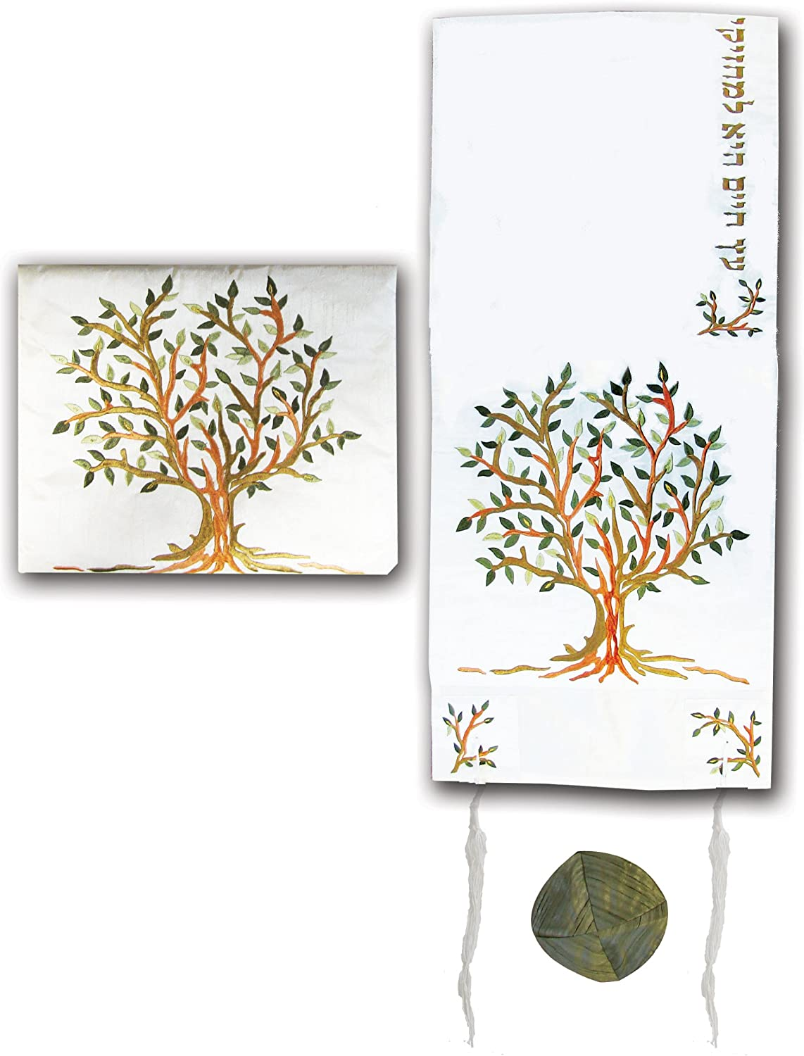 Yair Emanuel Green, gold, and Copper Shades Tree of Life Design Embroidered Raw Silk Tallit Set