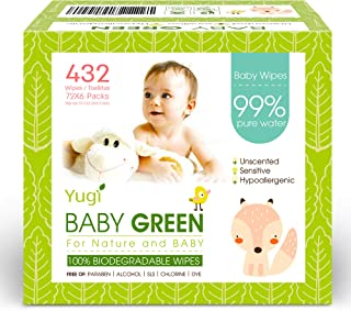 Baby Green Biodegradable Baby Wipes Unscented – (6 Packs of 72) 432 – compostable 99% Pure Water Plastic FREE Moist Newbor...