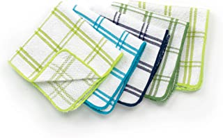 Ritz 100% Cotton 12-inch x 12-inch Kitchen Dish Towel, Gentle Cleaning Wash Cloth with Poly Scour Side, Blue/Green, 5-Pack