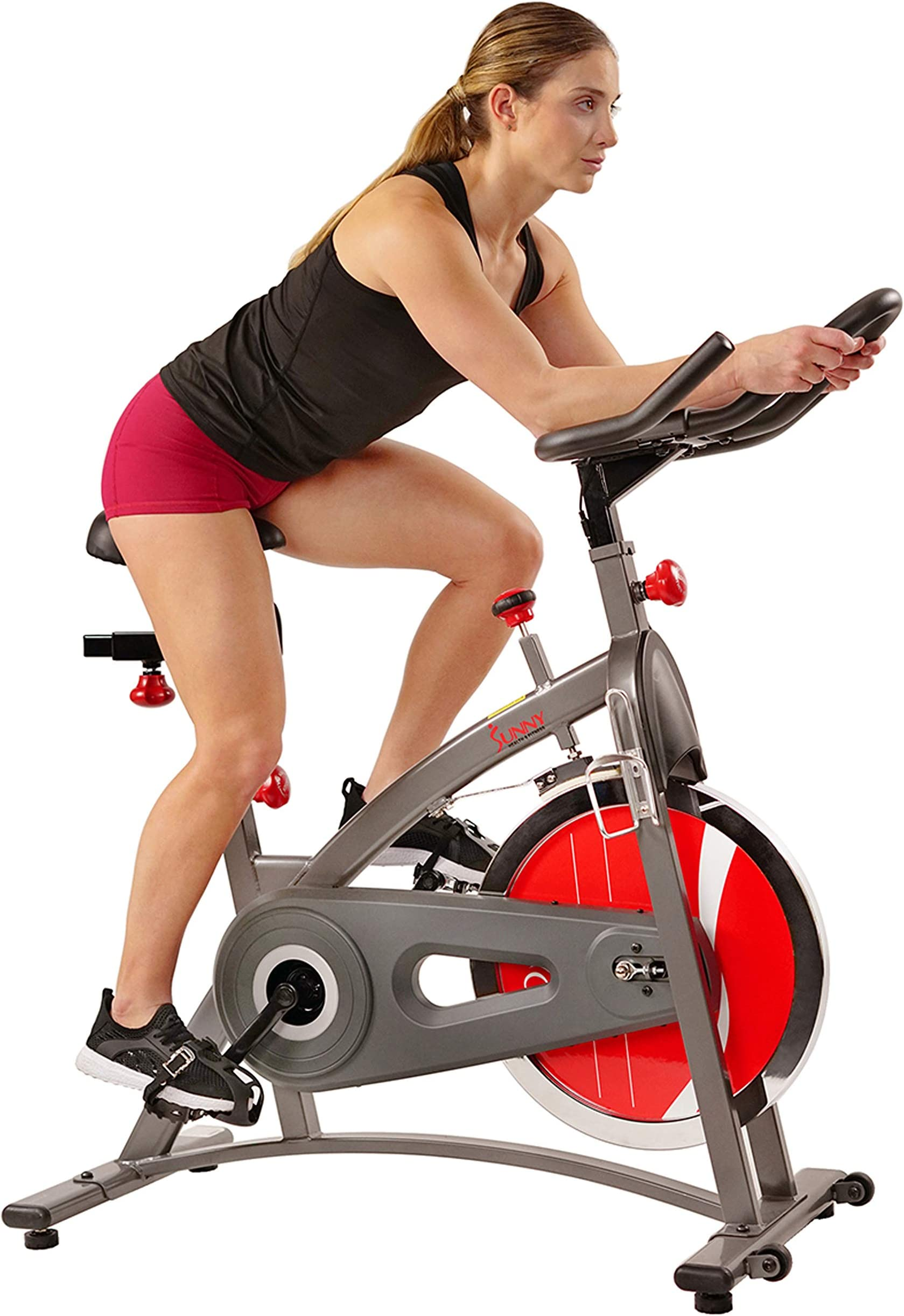 Sunny Health & Fitness Indoor Cycling Exercise Bike with LCD Monitor, 40 lb chrome Flywheel, 265 lb Max Weight - SF-B1423/C