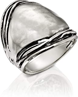 PZ Paz Creations .925 Sterling Silver Hammered Dome Ring
