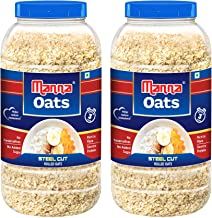 Manna Oats 2kg (1kg x 2 Jars) - Gluten Free Steel Cut Rolled Oats. High In Fibre & Protein. Helps maintain cholesterol. Go...