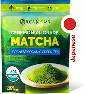 Organion Ceremonial Grade Japanese Matcha Green Tea Powder - Premium Quality, 100% Organic, USDA & JONA Certified, Antioxidants, Non-GMO, Vegan, Gluten and Sugar free [40g Starter Size]