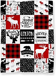 Personalized Woodland Deer Moose Adventure Blanket for Nursery Crib or Toddler Bed | Red Buffalo Plaid Faux Patchwork Super Soft Minky