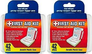 جعبه کمک های اولیه DecorRack ، بسته کوچک اندازه سفر ، پچ کمک های اولیه با 42 مورد ، جعبه پلاستیکی با دوام و مناسب برای ماشین ، خانه ، قایق یا کمپینگ (84 قطعه)