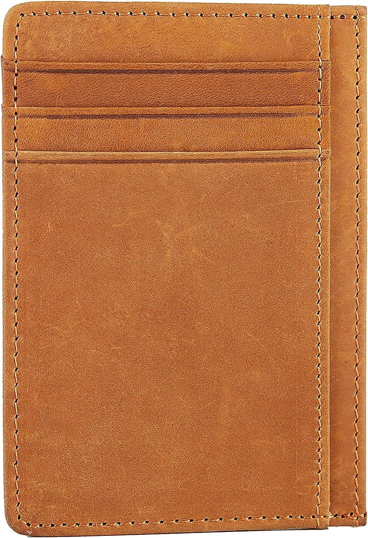 Oakxco Slim Minimalist Front Pocket RFID Blocking Leather Wallets for Men Women, Card Holder, Tan