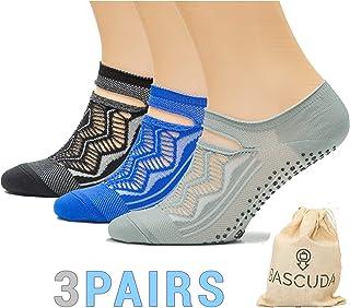 Juego de calcetines de yoga con empuñaduras antideslizantes para mujer, ideales para yoga, pilates, fitness, baile de ballet, calcetines, entrenamiento descalzo, gimnasio, deportes, pilates para mujer, accesorios de yoga