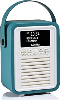 VQ Retro Mini DAB+ Digital Radio with FM, Bluetooth & Alarm Clock, Teal, (VQ-Mini-TL/AUS)