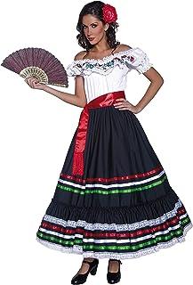 Authentische Western Kollektion Sexy Senorita Kostüm mit Kleid und Schärpe , Large