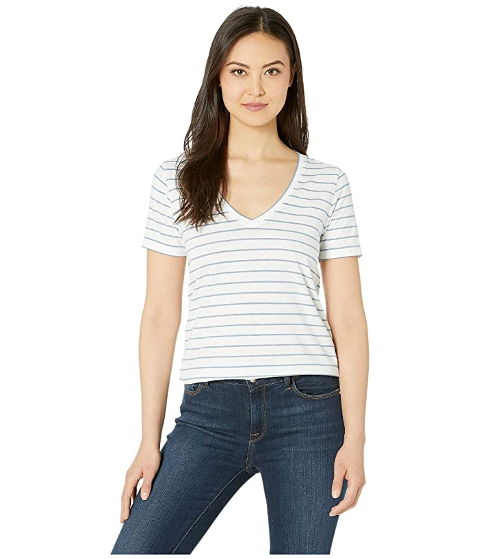 Lucky Brand  Stripe Burnout Tee (Blue Stripe) Womens Clothing