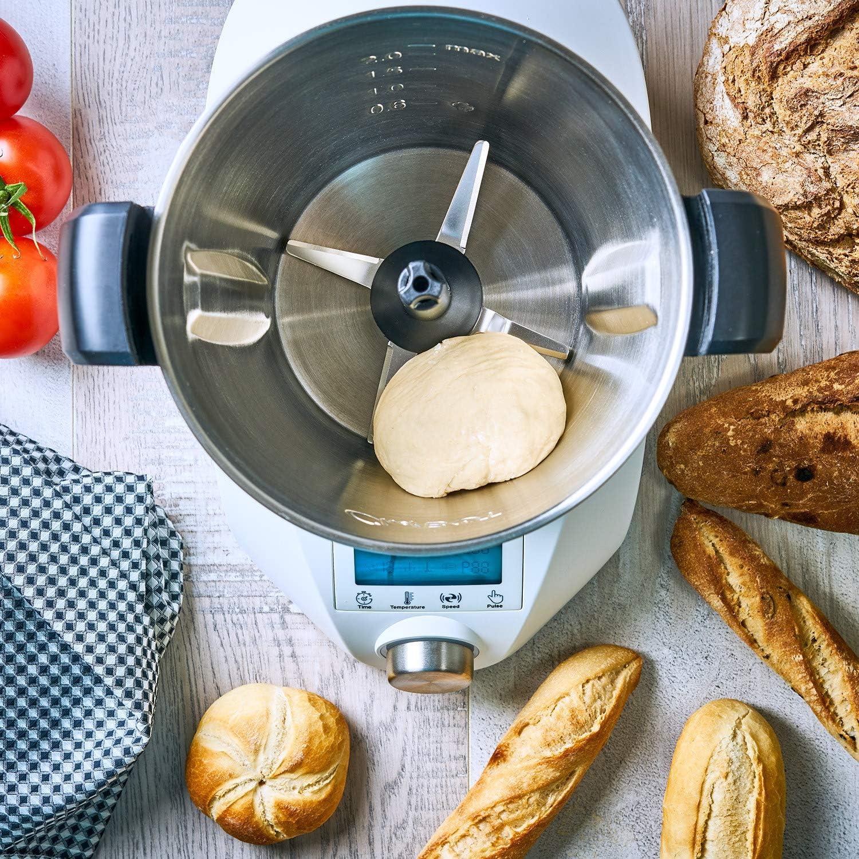 3,5 litres en acier inoxydable sans BPA 10 vitesses avec turbo 23 fonctions compact Chefbot avec livre de recettes - Blanc IKOHS Chef Compact Robot de cuisine multifonction