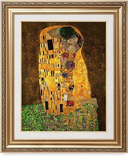 DECORARTS - The Kiss, Gustav Klimt Classic Art. Giclee Prints Framed Art for Wall Decor. Framed Size: 29x35
