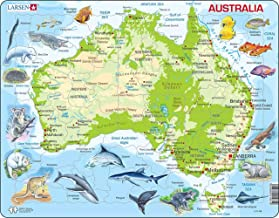 Larsen Puzzles Australia Map with Animals Children's Educational Jigsaw Puzzle - 65 Piece Tray & Frame Style Puzzle - Exclusive Premium Handmade Puzzles - Imported from Norway