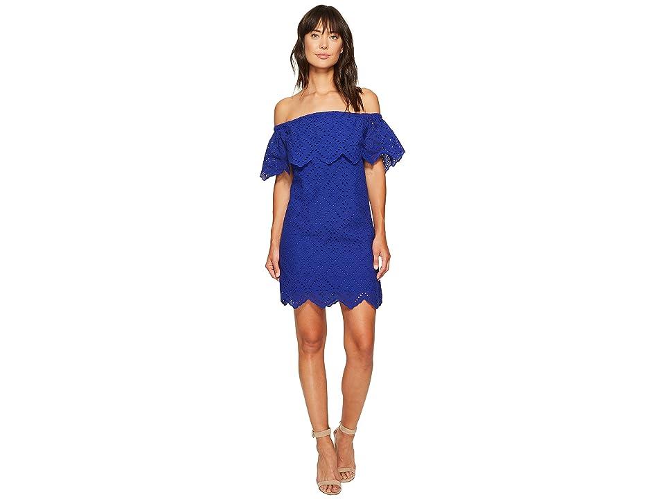 kensie Petal Eyelet Off Shoulder Dress KS6K993S (Dark Sapphire) Women