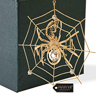 24K Gold Plated Crystal Studded Spider Hanging Ornaments for Christmas Tree, Christmas Miracle Traditions, Decor - Great Gifts idea for Valentine's Day, Birthday, Mother's Day, Christmas, Anniversary