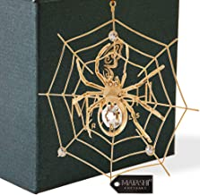 Matashi 24K Gold Plated Crystal Studded Spider Hanging Ornaments for Christmas Tree Halloween Party Decor - Great Gifts idea for Valentine's Day, Birthday, Mother's Day, Christmas, Anniversary