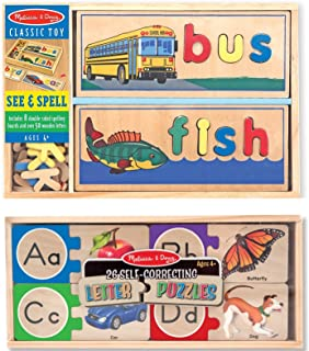 Melissa & Doug See & Spell Wooden Educational Toy With 8 Double-Sided Spelling Boards With Melissa & Doug Self-Correcting Alphabet Wooden Puzzles