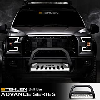 Stehlen 714937183766 Advance Series Bull Bar - Matte Black/Brush Aluminum Skid Plate For 09-18 Dodge Ram 1500/2019 Classic
