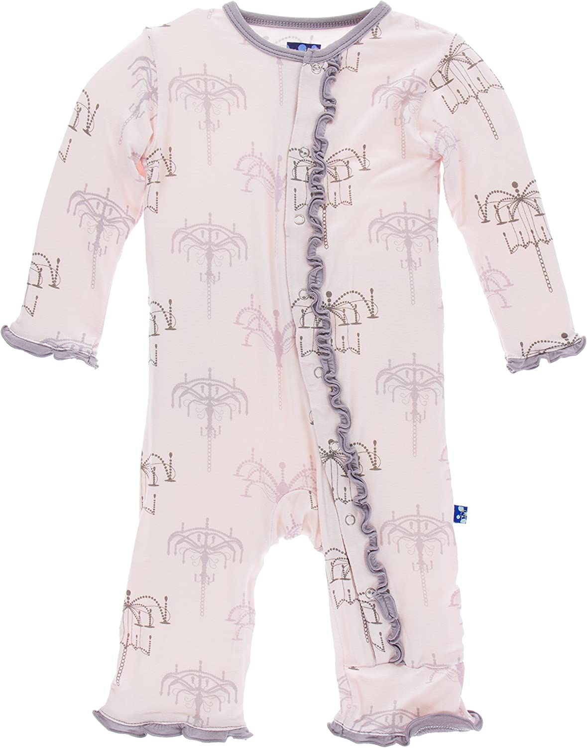 KicKee Pants Little Girls Print Muffin Ruffle Coverall with Snap