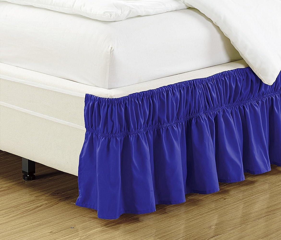 自由通信する戸惑うリネン プラス クイーン キング サイズ 伸縮性 ベッドスカート 43.18cm ドロップ イージーオン/イージーオフ ダストフリル ソリッド ロイヤルブルー