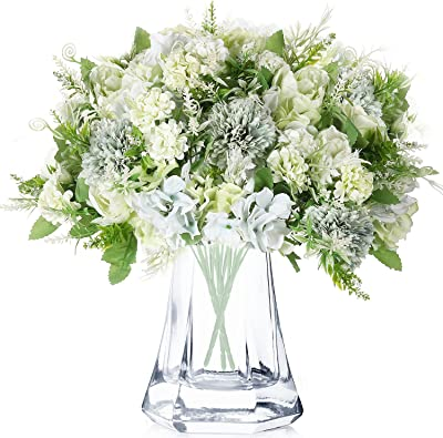 3 Bouquets de Fleurs Pivoines Artificielles Chrysanthème en Plastique Fleur Réaliste Fausses Fleurs de Pivoine Bouquet Floral de Décor de Mariage Bouquet de Hortensia en Soie (Vert)