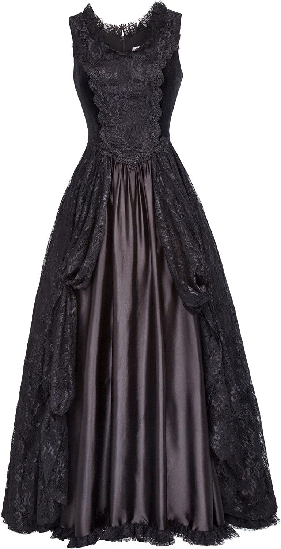 Belle Poque Steampunk Gothic Victorian Long Dresses High Waist Women Maxi Dress BP000378